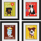 "Paragon Decor - Dogs, Set of 4 Artwork - This adorable little set of 4, ""Dogs"" is perfect for a living room, mudroom, or even a kid's room. This pop-art-inspired set features four little pups, each with a little wisdom to share. Each piece has its own unique composition, but the set finds its cohesion in its shared style and color scheme. Each piece is surrounded by a light gray matte and contemporary black frame. Each piece in this set measures 19 inches wide, 2 inches deep, and 22 inches high."