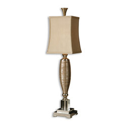 Uttermost - Abriella Gold Buffet Lamp - Great lighting is worth its weight in gold. This opulent buffet lamp features a metallic gold finish over textured porcelain with polished chrome and crystal accents. The silken golden shade adds the final touch of luxury to this elegant lamp, making it an excellent choice for your traditional home.