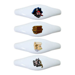 Carolina Hardware and Decor, LLC - Set of 4 Pirate Ceramic Pull Handle, Drawer Pulls - New ceramic cabinet, drawer, or furniture pull with mounting hardware included. Pull has standard three inch centers.  Can be wiped clean with a soft damp cloth. Great addition and nice finishing touch to any room!
