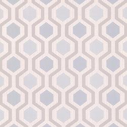 Brewster - 347-20135 Marina Modern Geometric  Trellis Wallpaper - A vivid modern geometric wall paper of dazzling grey and blue hues, brings a stylishly smart allure to walls