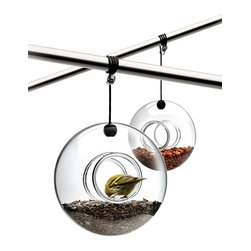 Eva Solo - Eva Solo Bird Feeder - Designed by Tools Design team of Claus Jensen and Henrik Holbaek, hand-blown glass bird feeder with fixture can be attached to a branch or under an overhang. Bird seeds not included. This listing is for 1 bird feeder.