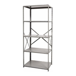 Hallowell - 87 in. High Hi-Tech Heavy-Duty Open Shelving in Gray Finish (36 in. W x 18 in. D - Depth: 36 in. W x 18 in. D x 87 in. H. Open style with sway braces. 5 Adjustable shelves. Fabricated from cold rolled steel. Welds are spaced 3 in. on center to provide maximum strength. Sides are triple flanged to form a channel. All 4 corners are lapped and resistance welded to provide a rigid corner and add extra strength to the shelf. Tubular front edge is designed to protect against impact loads. 36 in. W x 12 in. D x 87 in. H. 36 in. W x 18 in. D x 87 in. H. 36 in. W x 24 in. D x 87 in. H. Assembly required. 1-Year warranty
