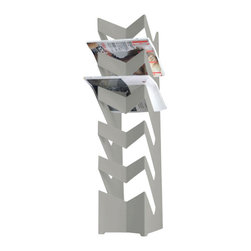 Radius Design - News Stand, Silver - The standing newspaper holder has space for up to 30 newspapers.