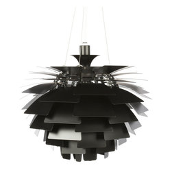 "Modernist Artichoke Light Black 39"" - Artichoke Light Black 39""Inspired by Poul Henningsen Artichoke lamp, the Artichoke is a high quality production to the original design.  This stunning mid-century icon is a 360-degree glare free luminaire created by metal leaves, which shield the light source, redirect and reflect the light onto the underlying leaves, giving distinct, unique illumination. The Artichoke is considered to be a classical masterpiece made more than 40 years ago. The structure is made of twelve steel arches. This design allows viewing the fixture from any angle without being able to see the light source located in the center of the Artichoke. The original Artichokes were developed for a restaurant in Copenhagen called the Langelinie Pavilion, and they are still hanging there today.Size: 39.3""Dia x 35.8.00""H"