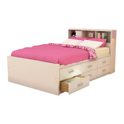Sonax - Sonax Willow Captain's Storage Bed in Frost White-Full - Sonax - Kids Beds - D111LWB - Stay organized by capitalizing on the space under your bed with the Sonax Frost White Captain's Bed with storage drawers. The Twin size offers six drawers on one side allowing you to position this bed against a wall or in the bedroom corner without losing any potential storage. Upgrade to the Full size an additional six drawers on the other side. Each of the drawers easily opens and slide on whisper-quiet high-quality ball bearing rollers. A matching thick panel storage headboard or flat headboard in matching Frost White finish is available but sold separately. No box spring is required so you can place your mattress directly on the sturdy wood slats. Rest comfortably on this bed proudly made in North America by Sonax.