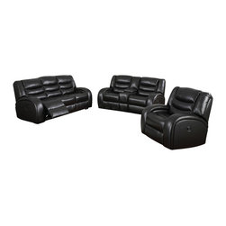 "Acme - 2-Piece Dacey Collection Espresso Bonded Leather Match Upholstered Sofa Set - 2-Piece Dacey collection espresso bonded leather match upholstered sofa and love seat set with recliner ends. This set includes the sofa and love seat with center console with recliners on both ends. Sofa measures 86"" x 39"" x 40"" H. Love seat measures 76"" x 39"" x 40"" H. Chair also available separately at additional cost. Love seat also available without a center console upon request. Some assembly may be required."