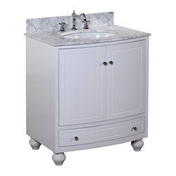 Kitchen Bath Collection - Palazzo 30-in Bath Vanity (Carrara/White) - This bathroom vanity set by Kitchen Bath Collection includes a white cabinet with soft close drawers, Italian Carrara marble countertop with stunning beveled edges, single undermount ceramic sink, pop-up drain, and P-trap. Order now and we will include the pictured three-hole faucet and a matching backsplash as a free gift! All vanities come fully assembled by the manufacturer, with countertop & sink pre-installed.