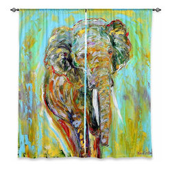 "DiaNoche Designs - Window Curtains Unlined - Karen Tarlton Elephant - Purchasing window curtains just got easier and better! Create a designer look to any of your living spaces with our decorative and unique ""Unlined Window Curtains."" Perfect for the living room, dining room or bedroom, these artistic curtains are an easy and inexpensive way to add color and style when decorating your home.  This is a tight woven poly material that filters outside light and creates a privacy barrier.  Each package includes two easy-to-hang, 3 inch diameter pole-pocket curtain panels.  The width listed is the total measurement of the two panels.  Curtain rod sold separately. Easy care, machine wash cold, tumbles dry low, iron low if needed.  Made in USA and Imported."