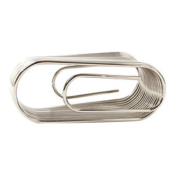 Design Ideas - ClipNote Organizer - Paper clips have commonly been used to attach papers together, but this jumbo size clip actually keeps them apart, separating notes and business cards, photos and receipts. Made from stainless spring steel, the wires easily separate to accommodate objects up to a quarter inch thick and then spring back into place when the object is removed.