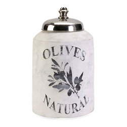 iMax - Small Olive Jar with Nickel Lid - This small decorative lidded jar is made from terracotta and features an antiqued white finish and olive branch graphic.