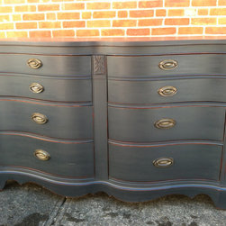 Custom Painted Dressers -Antique Black - Sold. Similar available in our current inventory of antique furniture. Email us at kingstonkrafts@gmail.com to receive photos of similar antique inventory. Or call 401-516-7711 to schedule a visit in our Providence, RI studio.