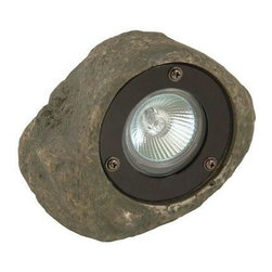 Coleman Cable - Low Voltage Rock Spotlight - Low Voltage Rock Spotlight - MOONRAYS--Decorative low voltage rock spotlight blends in with landscaping and adds security to your home. Uses 20W MR-16 bulb #95518. 1pc included with fixture. Use alone or as add-on to existing landscape lighting. Durable polysresin with glass lens. cUL listed. Includes one rock spotlight and connector