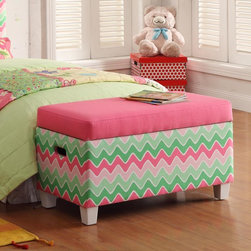 Kinfine - Juvenile Pink and Green Chevron Deluxe Storage Bench - Create space and brighten your child's room with this adorable pink and green storage bench. With a safety hinged lid to prevent smashed fingers and a fun chevron pattern, this storage bench is as decorative as it is functional.