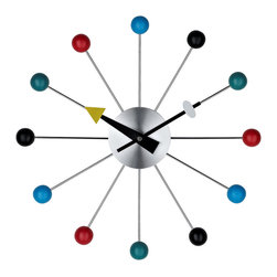 LexMod - Ball Clock - Conceived in 1948, the Ball clock is a ceaseless symbol of modernity brought to a world in flux. With its orbit of twelve multi-colored wooden balls, the work unites time while expressing each movement as a singular point in reality. Perhaps there is no modern classic clock as famous as this.