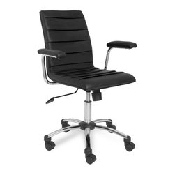 Leick Furniture - Black Faux Leather Pleated Office Chair - Adjustable height. Padded and upholstered seat. Star base with casters. Adjustable back tensioner. Pebble texture faux leather. Padded armrests. Knife pleated upholstery. Durable steel frame. Seat height: 17 in. to 21 in.Soft, black faux leather over a chrome star castered base offer a classic desk chair solution. Adjustable seat height, back angle tensioner and full swivel adapt this chair to your specific needs.