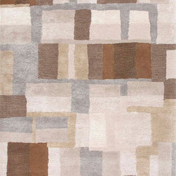 Jaipurrugs - Durable Wool Gray/Brown Adell Rectangle Rug Border Color Gray Brown 8' x 10' - Hand-Tufted Durable Wool/ Art Silk Gray/Brown Adell Rectangle Rug Border Color Gray Brown 8' x 10'.