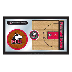 "Holland Bar Stool - Holland Bar Stool Northern Illinois Basketball Mirror - Northern Illinois Basketball Mirror belongs to College Collection by Holland Bar Stool The perfect way to show your school pride, our basketball Mirror displays your school's symbols with a style that fits any setting.  With it's simple but elegant design, colors burst through the 1/8"" thick glass and are highlighted by the mirrored accents.  Framed with a black, 1 1/4 wrapped wood frame with saw tooth hangers, this 15""(H) x 26""(W) mirror is ideal for your office, garage, or any room of the house.  Whether purchasing as a gift for a recent grad, sports superfan, or for yourself, you can take satisfaction knowing you're buying a mirror that is proudly Made in the USA by Holland Bar Stool Company, Holland, MI.   Mirror (1)"