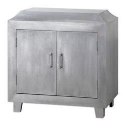 Martel Accent Chest - Sturdy Two-door Cabinet Accented By Inset Curves On Top, Clad In The Soft Sheen Of Brushed Aluminum. Clean, Polished Chrome Door Pulls With One Interior Shelf. Bulbs Included: No