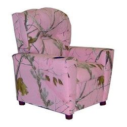 Dozydotes Kid Recliner with Cup Holder - Camouflage Pink - The Dozydotes Kid Recliner with Cup Holder - Camouflage Pink is the perfect addition to any girl's room. This superb recliner is crafted of solid hardwood and upholstered in soft fabric in a bright camoflauge pink print. The chair's plush cushioning combined with a built-in cupholder makes it a place they'll never want to leave. About DozydotesDozydotes' mission is to bring joy to children and confidence to shoppers which Dozydotes achieves by offering exclusive designs and high quality products. The brainchild of experienced mother Rene Campbell and elementary educator Alisa Clark-Slodoba Dozydotes aims to bring smiles to the faces of children and parents alike with fun creative products. Designed with kids in mind Dozydotes recliner chairs are miniature versions of the real thing and are equally attractive meaning your child will have a custom-sized chair that will look great in your home.