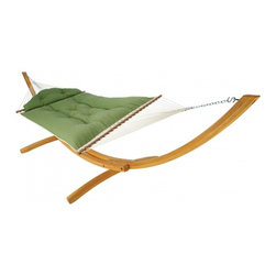 """Hatteras Hammocks - Large Tufted Hammock - Canvas Turf - Settle into one of these five airborne beds of pillowy perfection, and prepare to be overcome with comfort. This is relaxation elevated to the realm of art! Two layers either of industry-leading DuraCord® or Sunbrella® fabric, depending on hammock model, sandwich a thick center of polyester hollowfill fiber made from recycled pastic drink bottles. Both DuraCord® and Sunbrella® are resistant to rot, mold, mildrew. staining and fading, with a softness to rival cotton. The hammocks bed's own pillowy contours are created by nickel-plated rolled-rim gromments. All of our Tufted Hammocks include an attachable tufted trapezoid-shaped head-pillow of the same fabric and plush padding of recycled polyester hollowfill fiber.   Hammock Stand sold separately.  Total length 13', bed size 55""""x78"""".  Comes with Tufted pillow."""