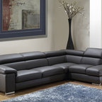 Nicoletti - Nicoletti Angel Dark Grey Leather Sectional Sofa with Right Chaise - The Nicoletti Angel sectional sofa with right chaise will bring a remarkable accent into your living room decor. The sofa features adjustable headrests covered in genuine Italian leather to become your favorite spot in the house or apartment. Available in Dark Grey finish.