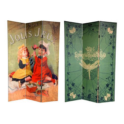 Oriental Unlimted - 6 ft. Tall Double Sided Children's Stories Ca - One double-sided divider, both sides shown in image. Presenting 2 lovely photographic reproductions of vintage storybook artwork. On the front is the cover of a French children's book from the turn of the century, Mes Jolis Jeux, featuring 2 delighted young girls. The back is from The Story Without End (1947), penned by prolific British dramatist Hugh Ross Williamson. These lovely period renderings of vintage graphic art add compelling interior design elements to any living room, bedroom, dining room or kitchen. This 3 panel screen has different images on each side. High quality wood and fabric covered room divider. Well constructed, extra durable, kiln dried Spruce wood frame panels, covered top to bottom, front, back and edges. With tough stretched poly-cotton blend canvas. 2 Extra large, beautiful art prints - printed with fade resistant, high color saturation ink, creating 2 stunning, long lasting, vivid images, powerful visual focal points for any room. Amazingly inexpensive, practical, portable, decorative accessory. Almost entirely opaque, double layer of canvas, providing complete privacy. Easily block light from a bedroom window or doorway. Great home decor accent - for dividing a space, redirecting foot traffic, hiding unsightly areas or equipment, or for providing a background for plants or sculptures, or use to define a cozy, attractive spot for table and chairs in a larger room. Assembly required. 15.75 in. W x 70.88 in. H (each panel)