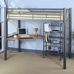 Monarch - Silver Metal Bunk Bed With Workstation And Bookcase - Functional space saving designs offer ultimate practicality for your child's bedroom. The top twin bunk features full length guard rails for security, while the convenient built-in ladder allows for easy access. The silver metal frame presents a sleek casual appeal that will match any decor. Below the bunk bed is a corner desk with a pull out keyboard tray, providing room for a work space or computer, while a three shelved unit offers more space for books. Whether your child is in elementary school, high school or lives in a dorm, this highly functional loft bed will make a useful addition to their bedroom.