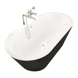 Spa World Corp - Atlantis Tubs 3265VY Valley 32x65x23 Inch Freestanding Soaking Bathtub - The Valley is a simple yet dynamic freestanding bathtub perfectly suited for any richly dark bathroom decor. The transition point from white to black is a marvel of tub engineering with it's seamless switch. This is a single piece solid tub featuring a built in overflow and drain set.