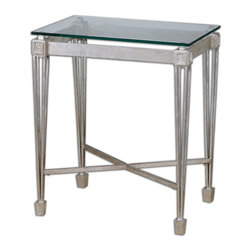 Antiqued Silver Leaf and Glass Vijai End Table - *Forged Iron Highlighted In Antiqued Silver Leaf With A Clear, Tempered Glass Top Spotlighting The Understated, Regal Design Of A Well-made Table.