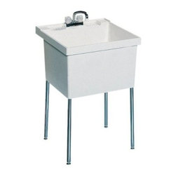 SWAN ST10000FM.001 Single Basin Floor Mount Utility Sink - The SWAN ST10000FM.001 Single Basin Floor Mount Utility Sink is a free-standing unit that easily adds a wash-station, laundry basin, or utility sink to any room you choose. The sink is made from sturdy white Veritek and features no surface coating to scratch, crack, or stain. Maximum capacity: 22-gallons. Four chrome-plated steel legs support the piece. Unit features a molded back-shelf and comes pre-drilled for a 4-inch center faucet (not included).About Trumbull IndustriesFounded in 1922 as a single branch plumbing supply house, Trumball Industries has evolved over the years in to a privately held corporation and full-line distributor with specialized divisions. With 6 branch locations, Trumball Industries has several divisions: an Industrial Division that provides products and services to industrial manufacturers, a Home Center Division that offers expertise in all major kitchen and bath products, a Municipal Division that offers a full line of water and sewer products, and a Master Distribution Center with 500,000 square feet housing over 80,000 products. Aside from providing quality services to their customers, the people at Trumbull Industries are happy provide a tour of any of their facilities as well as assist you with any design, layout, or purchasing decisions.