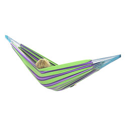"""Sunnydaze Decor - Cotton Hammocks in """"Cool"""" Color Combinations, Aurora Lights - Bed size: 80in long, 60in wide"""