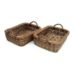 Organize It All - Rustic Willow Tray, 2 trays - Our Rustic Willow collection comes in a neutral rustic brown color that will match and compliment any decor. Perfect for organizing, storage, and decorating for an open shelf storage system. Use as a catch all basket for your keys, wallet, mail, and knick knacks. Mix and match with other pieces in this collection.