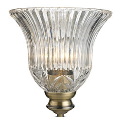 Golden Lighting - Lancaster AB Clarion Glass Shade - Bulb not included. Pleats and classic fern design. Round shape. Glass shade: 7.5 in. Dia. x 6 in. H. Overall: 7.5 in Dia. x 4 in. H. Warranty