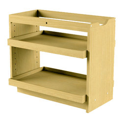 """The Organized Cabinet - Cabinet Pullout Storage Organizer- 14 inch wide, 2 full shelves - The 'Cabinet Pull Out Shelving Organizer' provides new functionality and opportunities for organizing your cabinets. With it's easily adjustable shelves it puts organization within reach. This unit measures 11W X 23L X 20T inches and easily installs in standard 12"""" cabinet openings."""