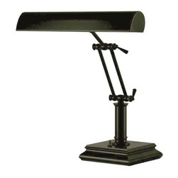 House of Troy Lighting - Adjustable Desk Lamp - P-14-201-81 - This bronze-finished lamp was designed for a desk or piano. It can illuminate reading materials or sheet music. Each of the two joints can be adjusted, allowing the lamp to bow completely over as a piano lamp, stand at its full 12-inch height, or rest anywhere in between. The switch is conveniently located on the base, which is six inches square. Takes (2) 60-watt incandescent T10 bulb(s). Bulb(s) sold separately. Dry location rated.