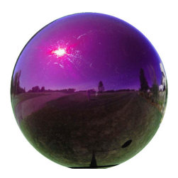 "EcoFirstArt - Green & Turquoise Mosaic Glass Gazing Ball, Solid Purple - This colorful 10"" diameter, one of a kind Multi-Color Glass Gazing Ball in a Green & Turquoise Mosaic, blown glass gazing ball, will add a splash of interest to your garden or landscape."