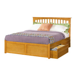 Atlantic Furniture - Atlantic Furniture Brooklyn Platform Bed with Flat Panel Footboard in Caramel La - Atlantic Furniture - Beds - AP9022007 - The warm wood finish accentuates the classic mission style slat and post design of this beautiful platform bed. Comfortable and eclectic it will add character and timeless elegance to your decor.