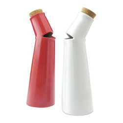 Inova Team -Modern Oil and Vinegar Porcelain Bottles - Set of 2 Red and White - The set is a pair of porcelain oil and vinegar cruets bent and cut to look as though they are singing.