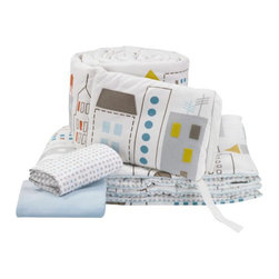 Skyline Lt. Blue Crib Set - Skyline was inspired by the view outside our studio windows. It's all the buildings of the bustling city - and sure to spark imaginations both young and old. Our 4pc set includes brushed cotton canvas bumper with felt applique details, fitted sheet, solid brushed canvas crib skirt and a reversible play blanket, all in 100% luxe cotton. Single fitted sheets are also available separately in Skyline and Traffic Dot.