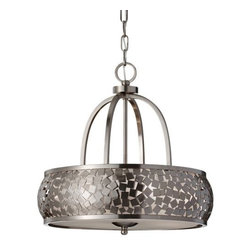 Feiss - Zara F2737/4 Chandelier by Feiss - The Feiss Zara F2737/4 Chandelier is a smooth yet sharp take on the drum pendant. A glass bottom diffuser and Silver Organza shade diffuse light below and through the uniquely patterned steel drum, finished in a complementary Brushed Steel. This outer structure is subtly curved, with a distinctive pattern of tumbling squares. Feiss Lighting boasts an award-winning team of industrial, graphic and interior designers and engineers that guarantee only the finest materials are used for their products.