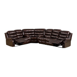 FOA - Kameno Sectional Sofa Set in Dark Brown Leatherette - This Transitional Style Recliner Type Sectional is upholstered in Dark Brown Leatherette.