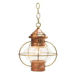 "The Nauset Lantern Shop - Onion Hanging Lantern, Small, Globe Bulb - The Hanging Onion Lantern is an adaptation of an onion lantern first used in this country on fishing schooners as nighttime working lights. They were popular, as the onion globe, by design, was unbreakable and protected the flame from wind and rain. Ceiling canopy measures 5"" diameter by 1.5"" high."