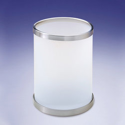 Windisch - Round Frosted Glass Bathroom Waste Bin - Contemporary style round bathroom waste basket without cover. Waste bin container is made out of frosted or satin crystal glass. Trash can top rim and base are made out of brass with a polished chrome, chrome and gold, satin nickel, or gold finish. Made in Spain by Windisch. Round bathroom waste basket without lid. Contemporary design. Made out of frosted or satin crystal glass. Wastebasket top rim and base are made out of brass. Brass available in chrome, satin nickel, gold, or chrome and gold finish. From the Windisch Addition Frozen Crystal Glass Collection.