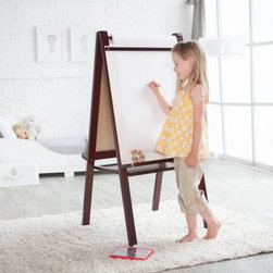 Classic Playtime Junior Easel - Espresso - The Classic Playtime Junior Easel - Espresso is loved by kids and parents alike. Kids will enjoy using their imaginations to fill the chalkboard dry erase board and paper roll and parents will love that their kids are staying engaged! This easel folds easily for storage and features a large tray to keep supplies organized. The wood frame is finished in classic espresso and will complement most décor. The paper holder is able to hold an 18-inch x 75-foot roll. This easel is ideal for children aged 2 to 5 years old.