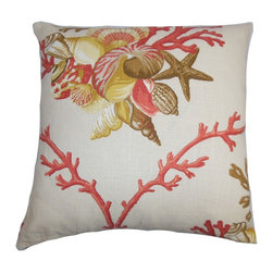 "The Pillow Collection - Maj Coastal Pillow Coral - Lend a coastal-inspired look to your living room, bedroom and lounge area with this pretty square pillow. This 18"" pillow features a colorful aquatic pattern in shades of coral pink, brown, yellow and white. Update your home in time for spring and summer with this  unique square pillow. Pair with solids and other patterns for an unconventional twist in your interiors. Made from a blend of 55% linen and 45% rayon fabric. Hidden zipper closure for easy cover removal.  Knife edge finish on all four sides.  Reversible pillow with the same fabric on the back side.  Spot cleaning suggested."