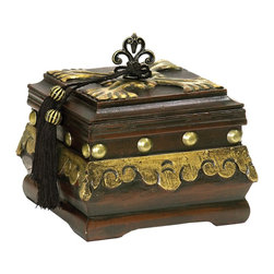Sterling Industries - Sterling Industries Camelot Box X-3622-98 - Old world detailing and wood tones are complimented by gold accenting on this Sterling Industries Camelot box. The curled metal finial holds two black tassels, which flow over the beveled edges and down the side of the box. Gold rivets and matching trim pull this look together.