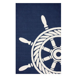 nuLOOM - Outdoor Novelty 5'x8' Navy Hand Hooked Area Rug Nautical - Made from the finest materials in the world and with the uttermost care, our rugs are a great addition to your home.