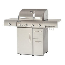 Aussie Stainless Steel 4 Burner Gas Grill with Side Burner - The Aussie Stainless Steel 4 Burner Gas Grill with Side Burner offers outstanding heat control for more delicious grilling results, including a porcelain-coated flavor activator that's specially designed for better taste and aroma distribution. The 60000 BTU main grill is complemented by a 10000 BTU side grill, allowing you to give sizzling burgers and scrumptious side dishes their own particular temperature control, with an included heat thermometer for monitoring grilling conditions. The 700+ square inches of cooking space is supported by enclosed door and drawer storage in the wheeled base, plus a towel rack and accessory hooks for keeping utensils clean and close at hand.