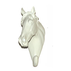 None - White Set of 2 Ceramic Horse Head Hook - Give your home a unique look with this ceramic horse head hook. This hook has a white high gloss that makes it shine and bring attention to your hallway or room.