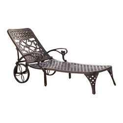 Home Styles - Home Styles Biscayne Outdoor Chaise Lounge Chair in Bronze - Home Styles - Patio Lounges - 555583 - Create an intimate conversation area with Home Styles' Biscayne Chaise Lounge Chair. Constructed of cast aluminum in a UV resistant powder-coated bronze finish sealed with a clear coat for protection; the Lounge Chair features two wheels for easy portability and nylon glides on legs for stability. Elegant design and sturdy construction this piece can be adjusted to four back positions.